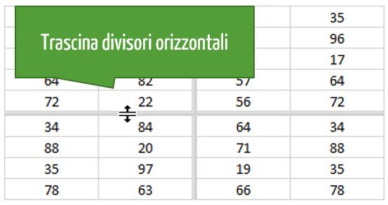comando Dividi Excel: divisori orizzontali