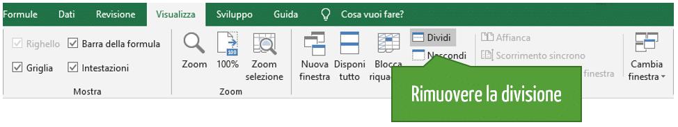 rimuovere divisione riquadri Excel