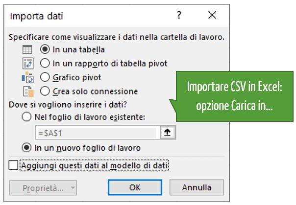 Importare CSV: opzione Carica in…