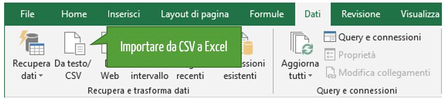 Come importare file da CSV a Excel