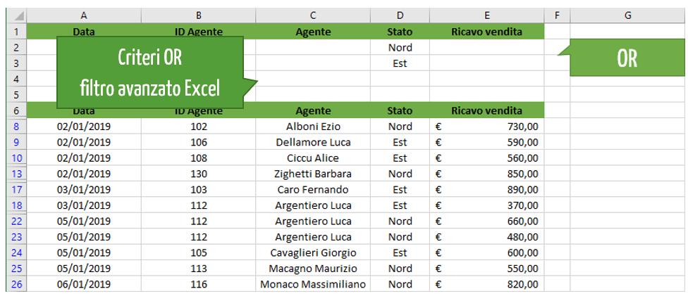 Filtro Excel | I criteri OR