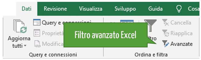 Come utilizzare in Excel filtro avanzato