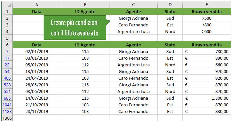 Filtri in Excel | Creare più condizioni