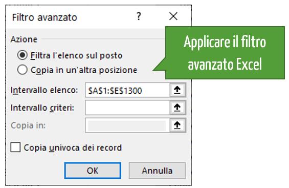 Filtro in Excel | Applicare il filtro avanzato di Excel