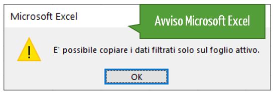 Excel Filtro avanzato | Avviso Microsoft Excel