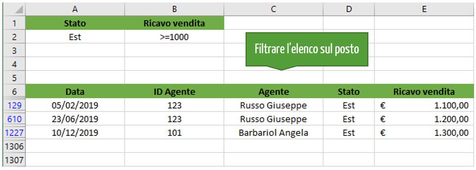 Filtri in Excel | Filtrare elenco sul posto