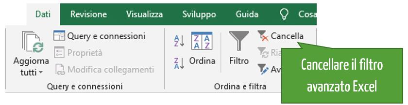 Filtrare in Excel | rimuovere il filtro