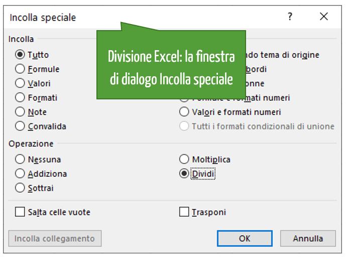 Divisione Excel | La finestra di dialogo Incolla speciale
