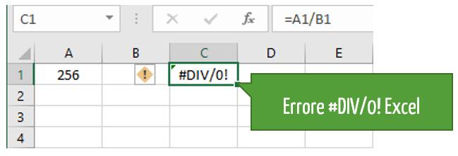 Divisione Excel ed errori nelle formule