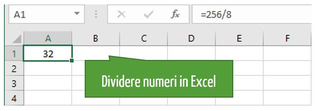 come fare divisioni | formula excel divisione