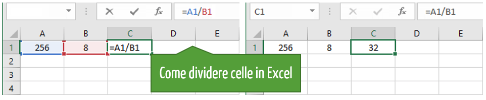 formula divisione Excel | Come dividere una cella in Excel |  Excel dividere cella