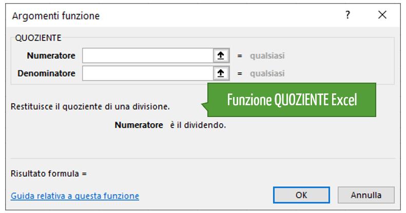 come svolgere una divisione | Funzione QUOZIENTE Excel