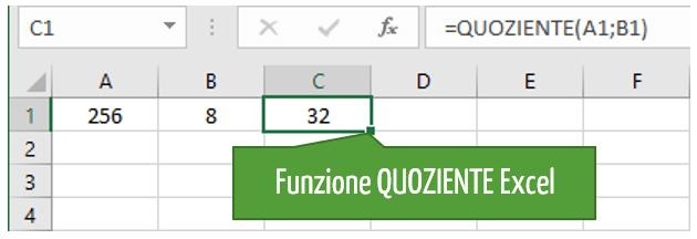 divisioni con Excel | Funzione QUOZIENTE Excel