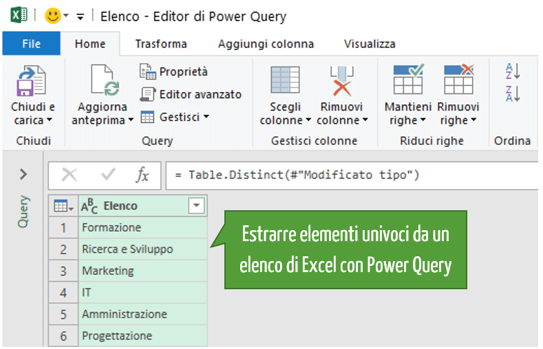 Estrarre elementi univoci da un elenco di Excel con Power Query