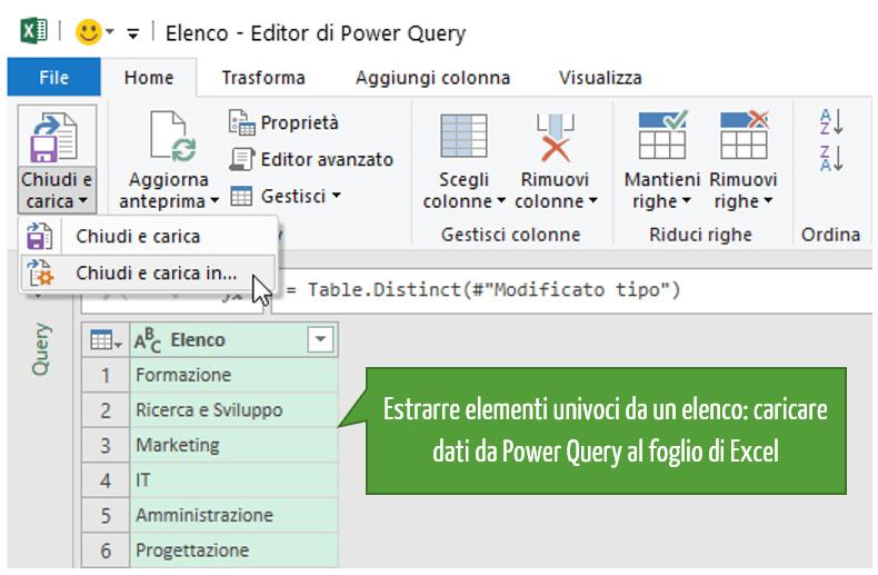 Estrarre elementi univoci da un elenco: caricare dati da Power Query al foglio di Excel