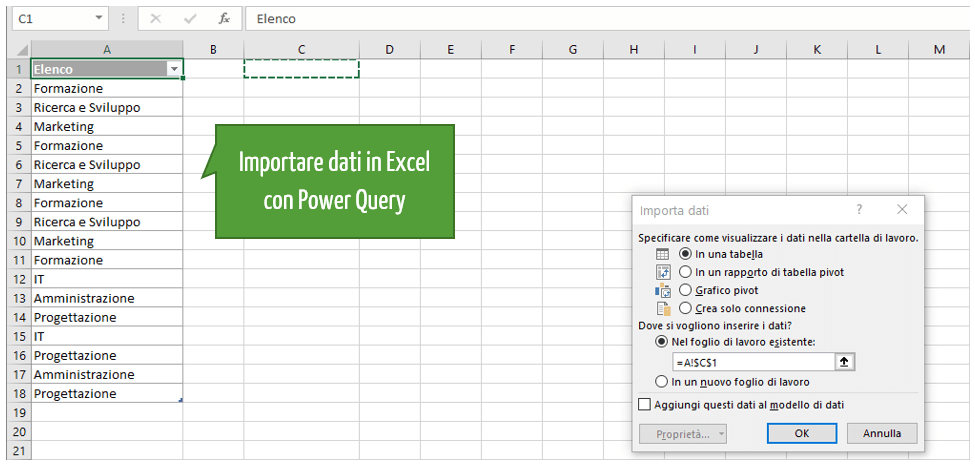 Importare dati in Excel con Power Query