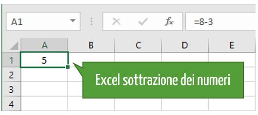 formula sottrazione Excel | differenza Excel