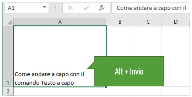 Testo a capo cella Excel