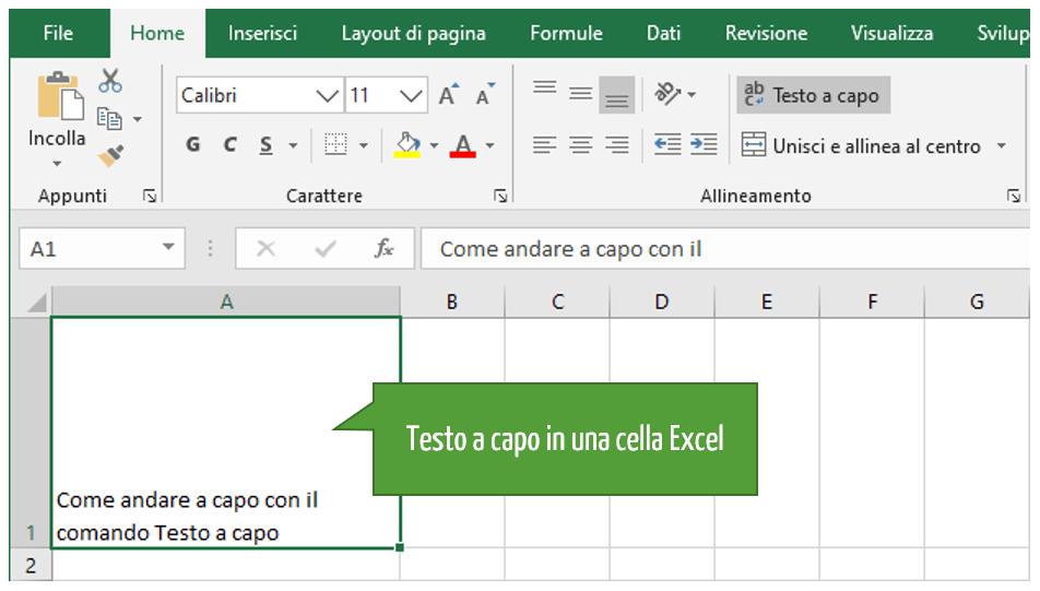 Come si va a capo su Excel