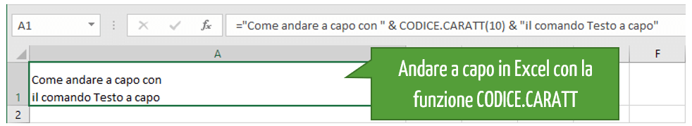 Come si va a capo | La funzione CODICE.CARATT Excel