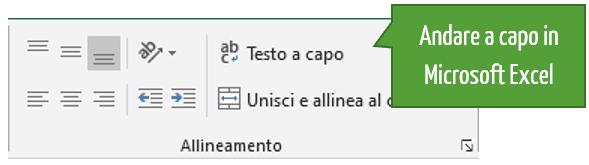 Excel: andare a capo con il comando Testo a capo
