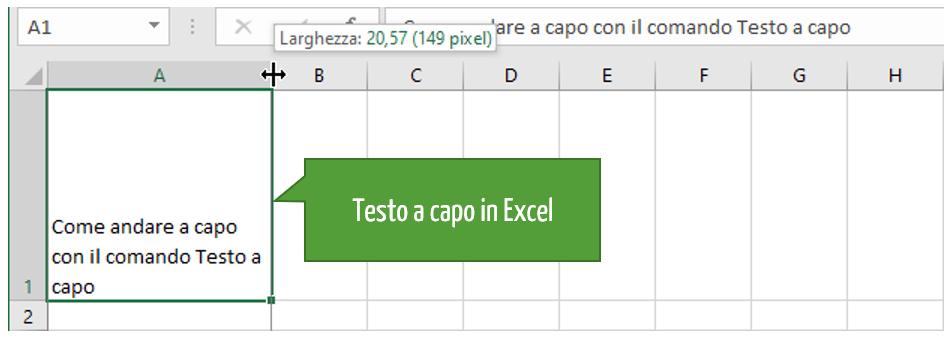 Excel cella con testo a capo