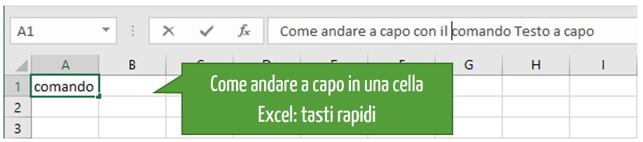 Tasti rapidi Excel andare a capo in una cella