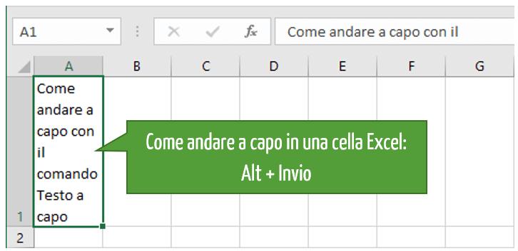 Andare a capo in una cella Excel