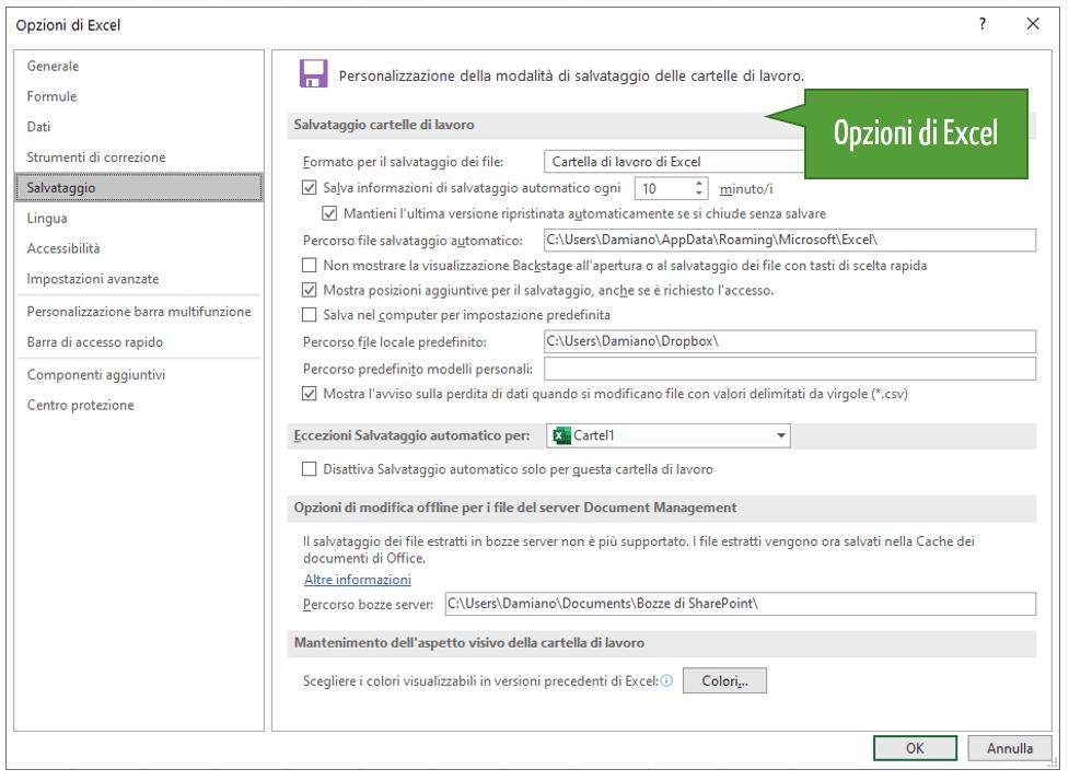 Salvataggio automatico Excel