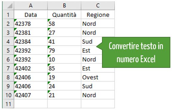Convertire testo in numero Excel: opzione Converti in numero