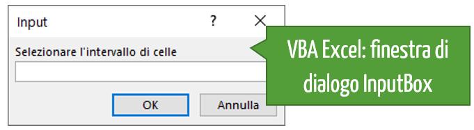 Finestra di dialogo Input Box VBA Excel