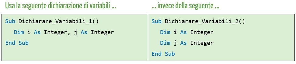 scrivere più codice VBA in una singola riga