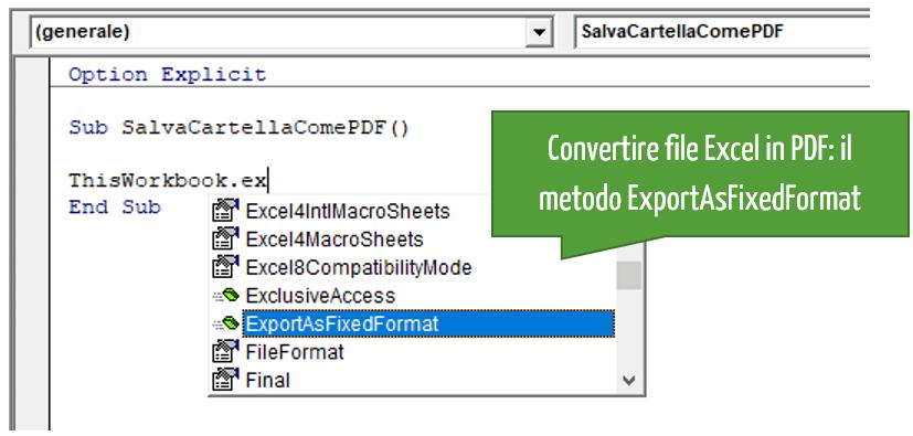 Convertire file Excel in PDF con VBA