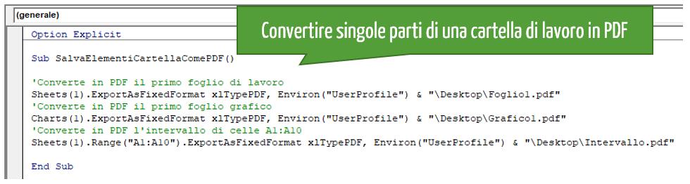 Come convertire un intervallo celle in PDF