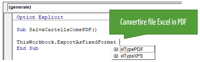 convertire excel in pdf con il linguaggio delle macro