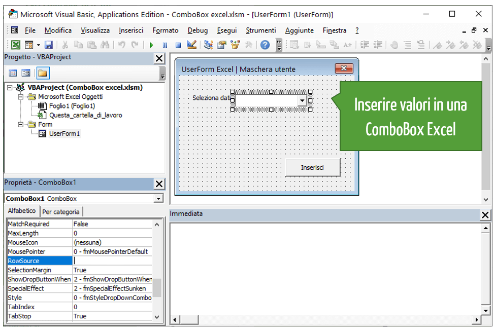 Aggiungere valori a una ComboBox VBA Excel