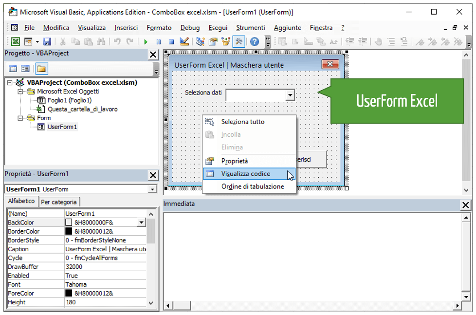 Inserire valori a una ComboBox con il VBA Excel
