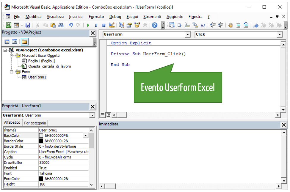 Evento UserForm VBA Excel