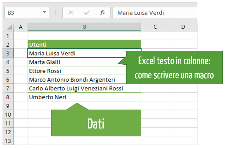 Excel testo in colonne: come scrivere una macro