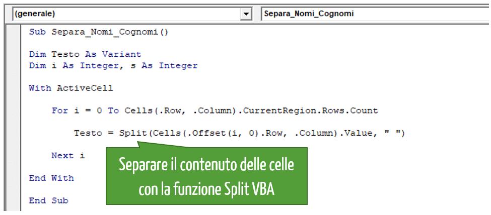 Separare il contenuto delle celle con la funzione Split VBA