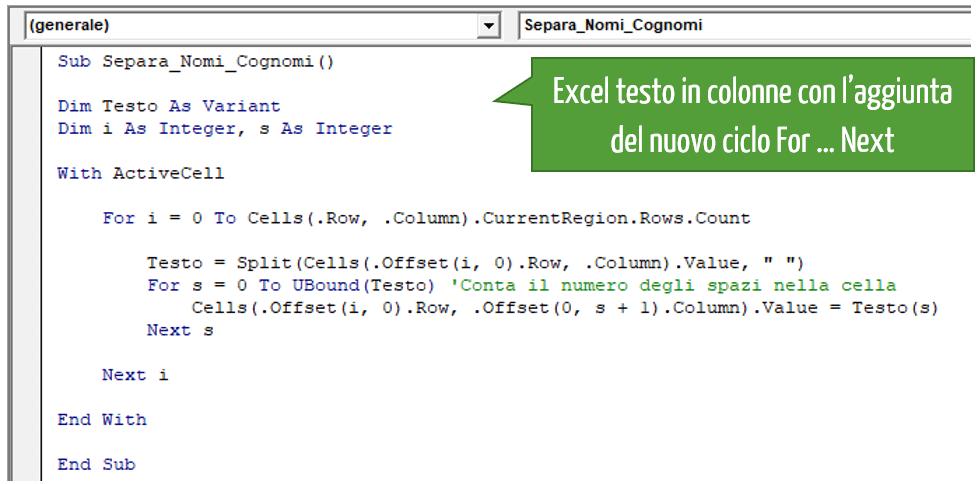 Excel testo in colonne con l'aggiunta del nuovo ciclo For … Next