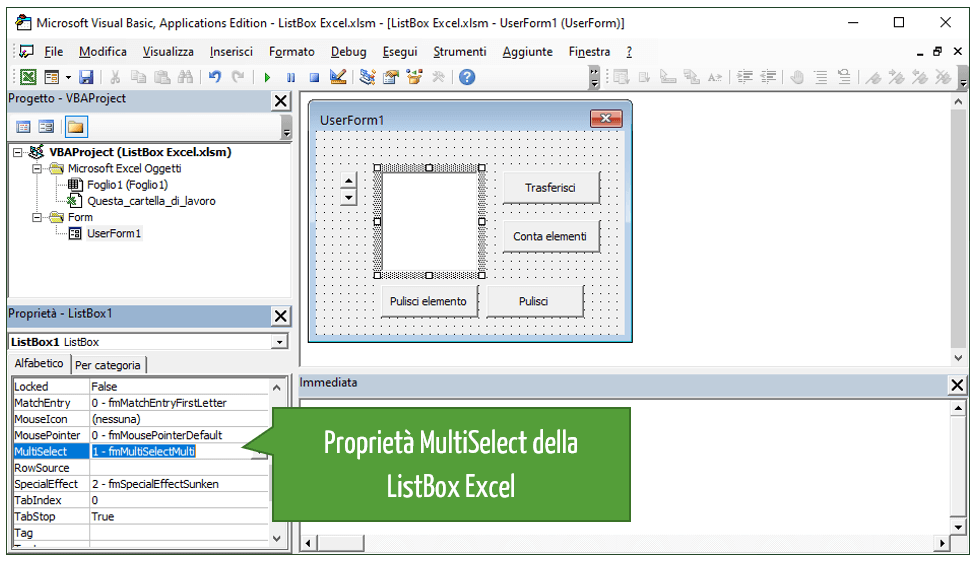 Cancellare dati in una ListBox Excel