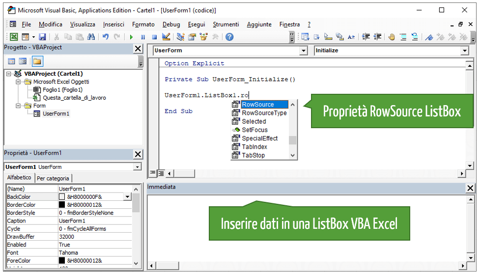 Inserire dati in una ListBox VBA Excel