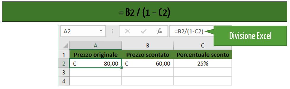 calcolo sconto Excel