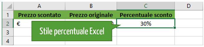 Stile percentuale Excel