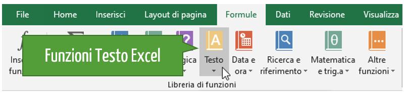 funzioni di testo di Excel