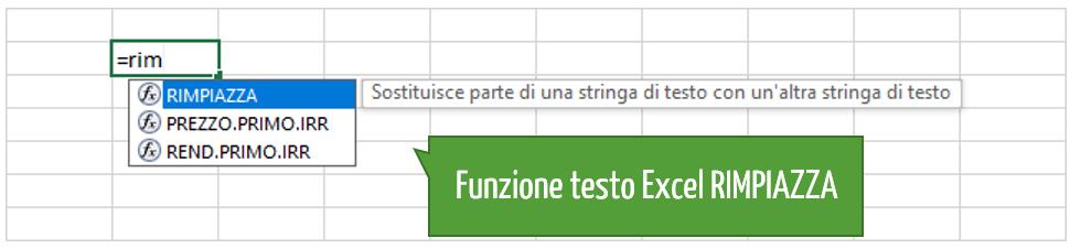 Excel funzione testo | Funzione per sostituire testo Excel RIMPIAZZA