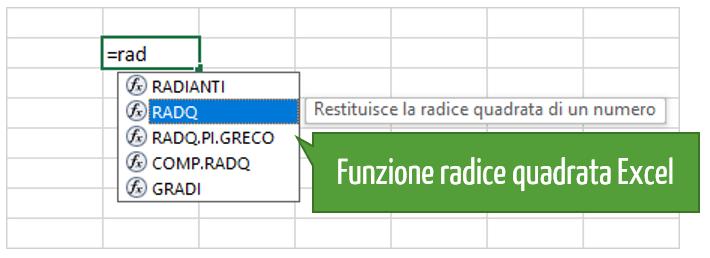 funzione radice quadrata Excel
