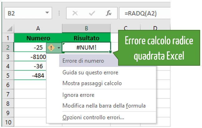 come trovare la radice quadrata Excel