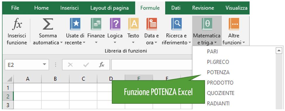 La funzione POTENZA in Excel